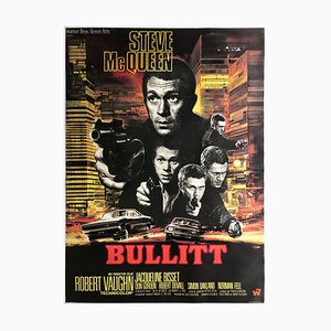 Large French Bullitt Film Movie Poster by Saukoff, 1968