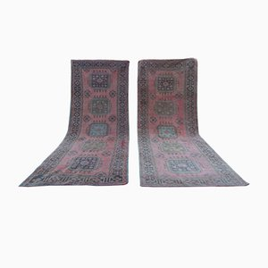 Vintage Turkish Hand-Knotted Oushak Runner Rugs, 1970s, Set of 2