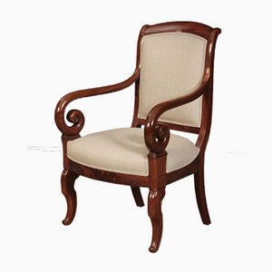 Antique Empire French Mahogany Armchairs, Set of 2