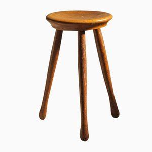 Moderner skandinavischer Vintage Hocker aus massivem Holz