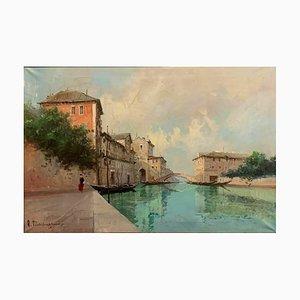 Dipinto ad olio raffigurante il canale di Venezia di Aldo Marangoni, anni '20