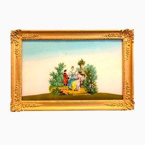 Scéne Bourgeoise Animée Dans un Parc Painting, siglo XIX
