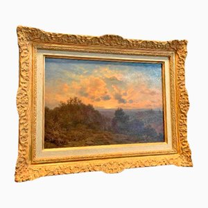 19th Century Couché De Soleil Sur La Montagne Painting by Jean-philippe George-julliard