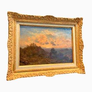 Peinture Couché De Soleil Sur La Montagne 19ème Siècle par Jean-philippe George-julliard