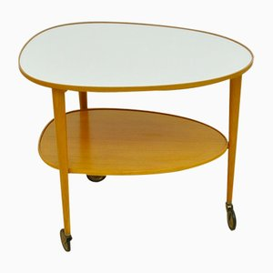 Mid-Century Cherry Wood Serving Trolley, 1950s