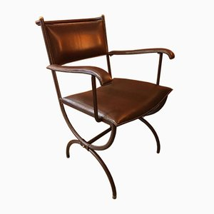 Mid-Century French Quilted Leather Desk Armchair by Jacques Adnet, 1950s