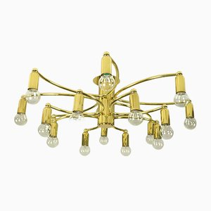 Sculptural Brass 16-Light Flush Mount Ceiling Lamp from Leola, 1970s