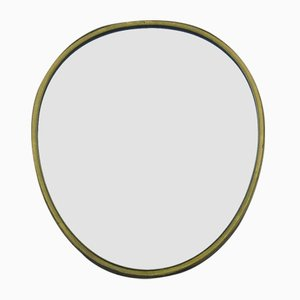 Mid-Century Egg-Shaped Brass Wall Mirror, 1950s