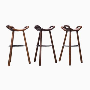 Vintage Brutalist Spanish Marbella Bar Stools from Confonorm, 1970s, Set of 3