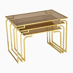 Vintage Italian Brass and Glass Nesting Tables, 1970s, Set of 3