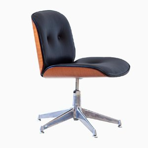 Black Leather Swivel Desk Chair by Ico Luisa Parisi for MIM Roma, 1960s