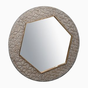 Mid-Century Round Murano Glass and Brass Wall Mirror, 1980s