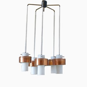 Mid-Century Scandinavian Copper and Opaline Glass Ceiling Lamp