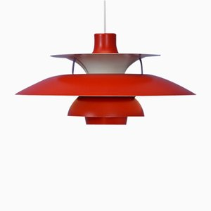 Danish Red Model PH5 Pendant Lamp by Poul Henningsen for Louis Poulsen, 1970s