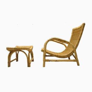 Mid-Century Bambus Sessel und Fußhocker Set, 1950er