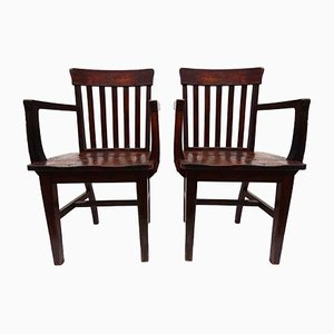 Antique Banker Chairs from Heywood Wakefield, Set of 2