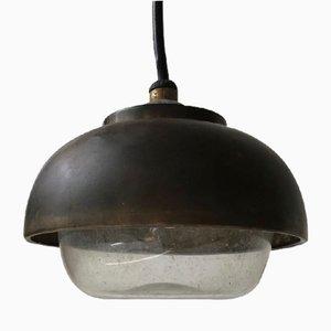 Lámpara de techo náutica Bauhaus de latón y vidrio, años 30