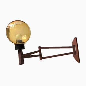 Scandinavian Teak and Smoked Glass Swing Arm Sconce, 1960s