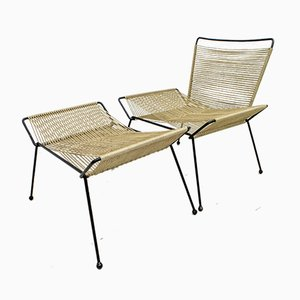 Mid-Century Italian Armchair and Footrest Set, 1960s
