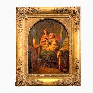 Peinture Famille Dans Un Intérieur Rustique, France, 18ème Siècle