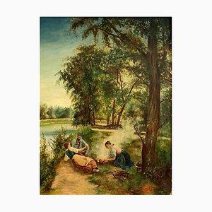 Peinture Repas Au Bord de L'Eau 19ème Siècle par Louis Henri Joseph Peyronnet