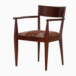 Art Deco Cubist Brown Oak Armchair, 1920s