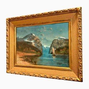Grande Peinture à l'Huile View of the Alps par Willy Erik Helfert