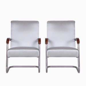 Tubular Gray Chrome Armchairs by Anton Lorenz for Mücke Melder, 1930s, Set of 2
