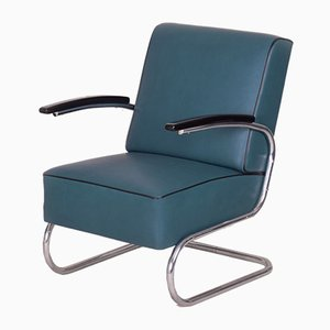 Art Deco Tubular Steel and Blue Leather Cantilever Armchair from Mücke Melder, 1930s