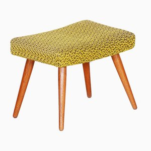 Mid-Century Yellow and Green Oak Stool, 1960s