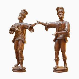 Große maurische italienische Terrakottaskulpturen, 2er Set