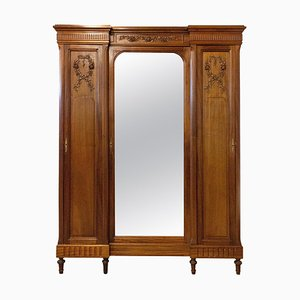 French Louis XVI Mahogany & Mirror Door Wardrobe, 1900s