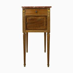 Table de Chevet Antique en Acajou et en Marbre, France, 1900s