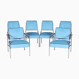 Bauhaus Blue Tubular Chrome Armchairs & Chairs, 1940s, Set of 6
