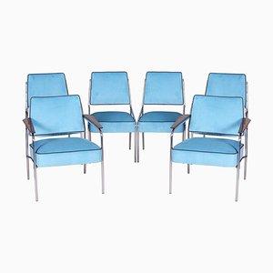 Blaue Verchromte Bauhaus Armlehnstühle & Stühle aus Bauhaus, 1940er, 6er Set