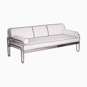 Bauhaus White Tubular Chrome Sofa by Michael Thonet for Robert Slezák, 1930s