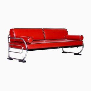 Rotes Stahlrohr-Sofa mit Gestell aus verchromtem Stahlrohr von Michael Thonet für Robert Slezák, 1930er