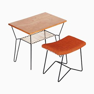 Mid-Century Orange Stool & Beech Table, 1950s, Set of 2