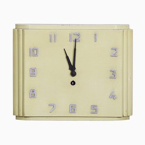 Mid-Century Czech Bauhaus Lacquered Wood Wall Clock, 1930s