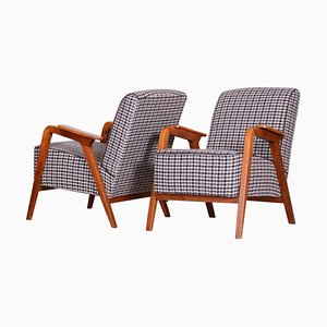 Mid-Century Czech Brown Beech & Upholstery Armchairs, 1940s, Set of 2