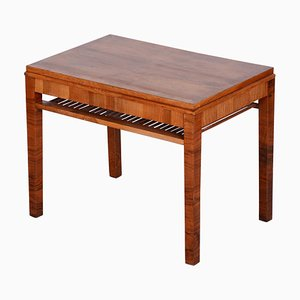 Czech Art Deco Brown Walnut Coffee Table, 1930s