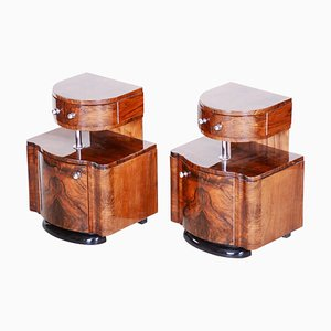 Czech Art Deco High Gloss Walnut Bedside Tables, 1920s, Set of 2