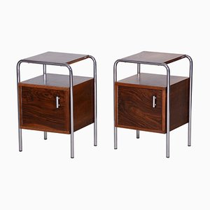 Bauhaus Walnut Bedside Tables from Robert Slezak, Czechoslovakia, 1930s, Set of 2