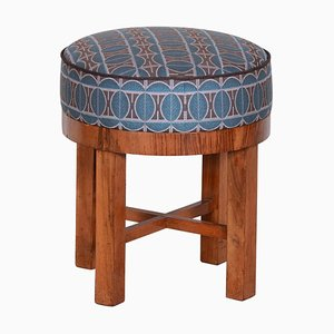 Czech Art Deco Walnut & Fabric Tabouret Stool, 1930s