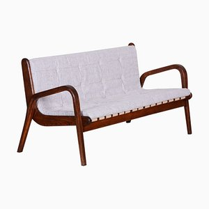 Mid-Century Czech Brown Beech & Upholstery Sofa by Jan Vanek, 1950s