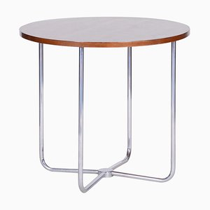 Czech Bauhaus Tubular Chrome & Beech Round Table from Mücke & Melder, 1930s