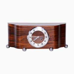 Art Deco High Gloss Walnut Table Clock, 1930s