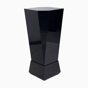 Cubist High Gloss Black Pedestal, Czechoslovakia, 1970s