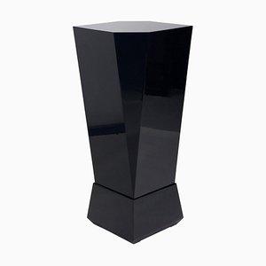 Cubist High Gloss Black Pedestal, Czechoslovakia, 1970s