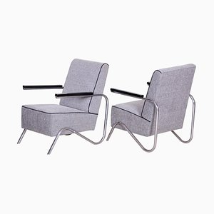 Grey Tubular & Upholstery Armchairs, 1930s, Set of 2